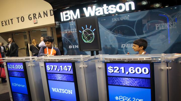 Attendees visit the Watson display that the 2015 Berkshire Hathaway Annual Shareholder's Meeting in Omaha, Nebraska on May 2, 2015.